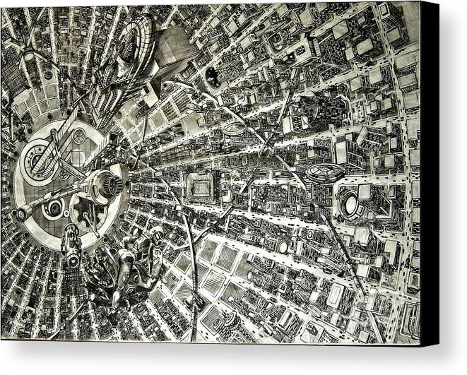 Cityscape Canvas Print featuring the drawing Inside Orbital City by Murphy Elliott