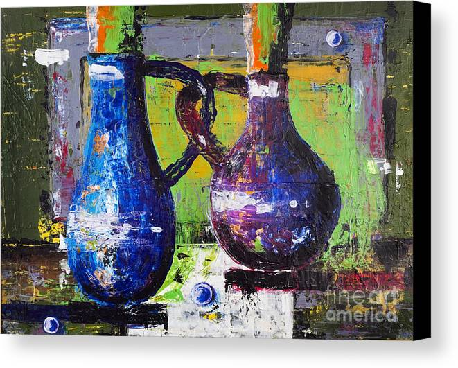 Pot Canvas Print featuring the painting Jugs In Love by Irina Gromovaja