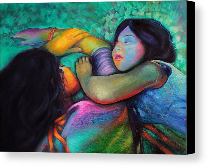 Children Canvas Print featuring the painting Lara's Dream by Francesca Bellini