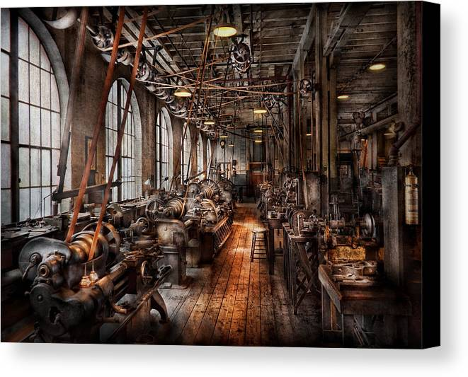 Hdr Canvas Print featuring the photograph Machinist - A Fully Functioning Machine Shop by Mike Savad