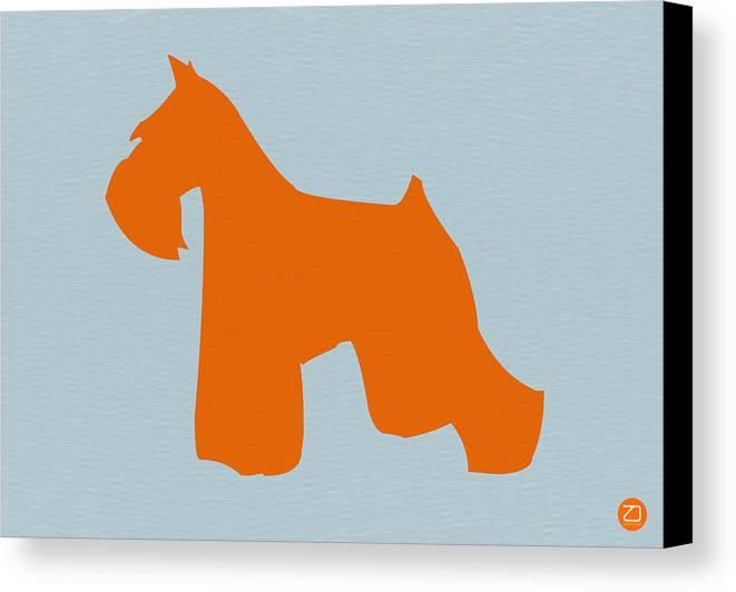 Miniature Schnauzer Canvas Print featuring the digital art Miniature Schnauzer Orange by Naxart Studio