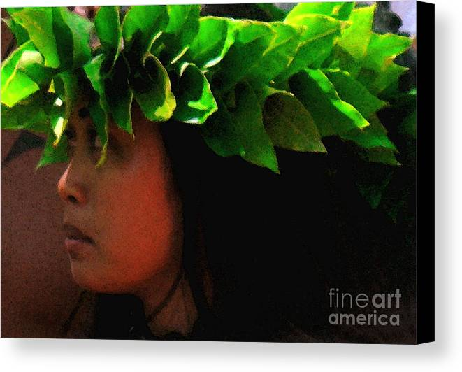 Hula Canvas Print featuring the photograph Molokai Wahine Dancer by James Temple