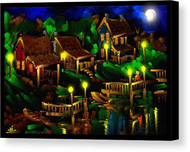 Moonshine Canvas Print featuring the painting Moonshine Lake - Scratch Art Series - # 26 by Steven Lebron Langston