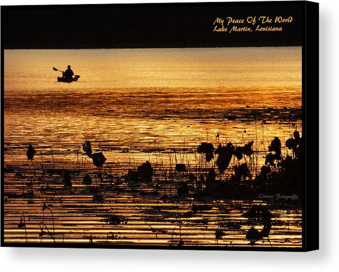 Lakemartinlouisiana Canvas Print featuring the photograph My Peace Of The World by Kimo Fernandez