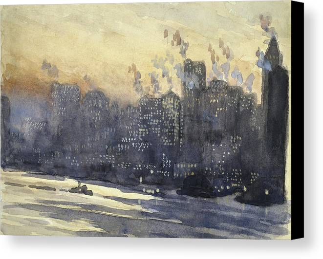 Manhattan Canvas Print featuring the painting New York Harbor And Skyline At Night Circa 1921 by Aged Pixel