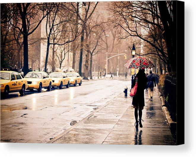 New York City Canvas Print featuring the photograph New York Rain - Greenwich Village by Vivienne Gucwa