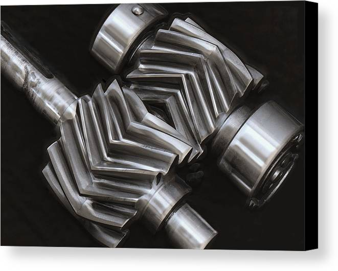 Gears Canvas Print featuring the photograph Oil Pump Gears by Daniel Hagerman