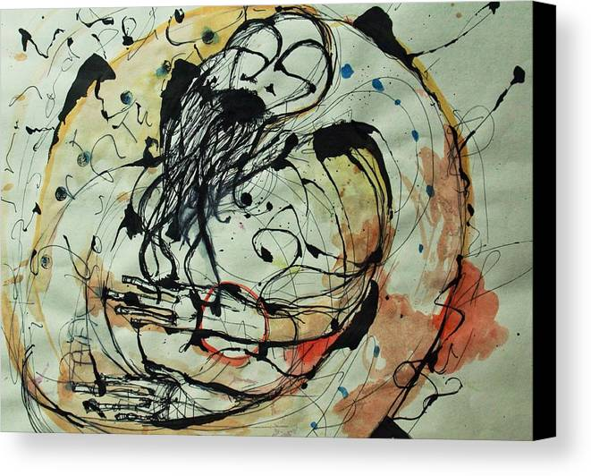 Pen And Ink Canvas Print featuring the drawing Pain Erupts Everywhere Original by Mark M Mellon