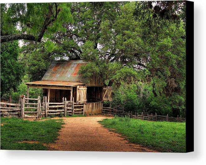 Barn Canvas Print featuring the photograph Path To The Barn by David and Carol Kelly