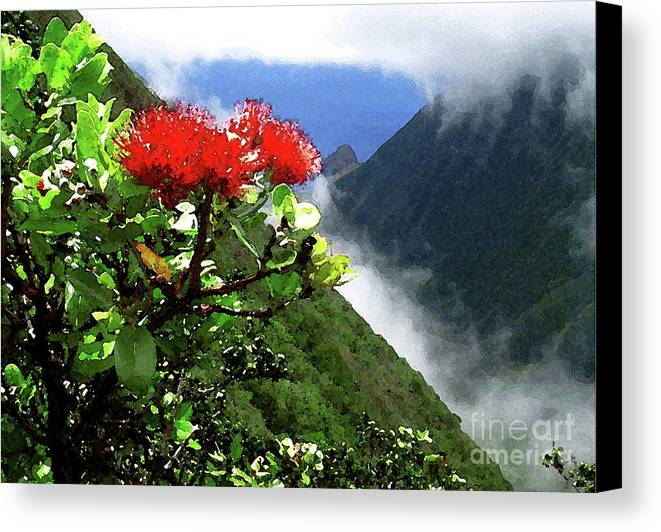 Ohia Lehua Canvas Print featuring the photograph Peles Flower by James Temple