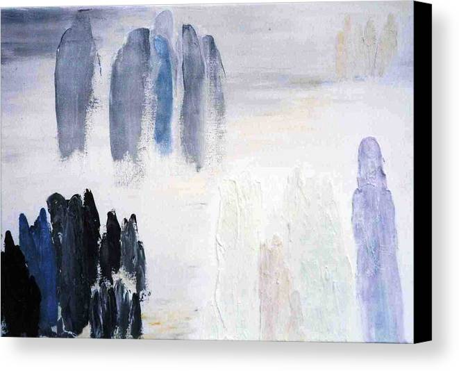 White Landscape Canvas Print featuring the painting People Come And They Go by Bruce Combs - REACH BEYOND