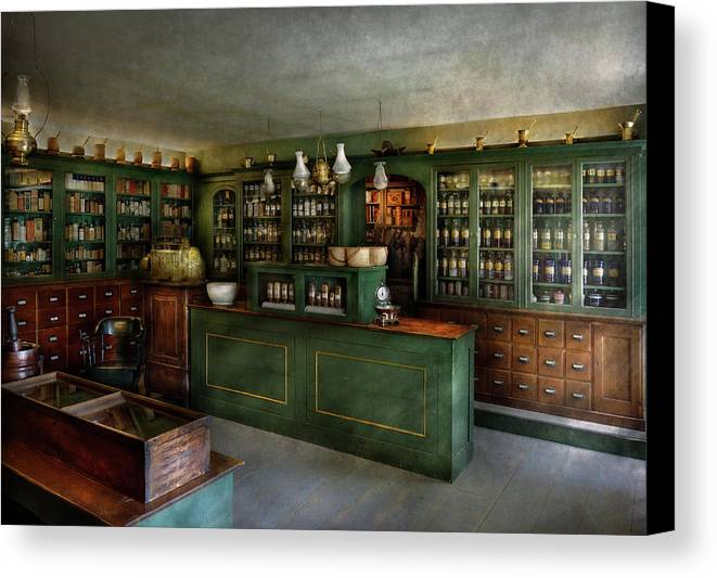 Apothecary Canvas Print featuring the photograph Pharmacy - The Chemist Shop by Mike Savad