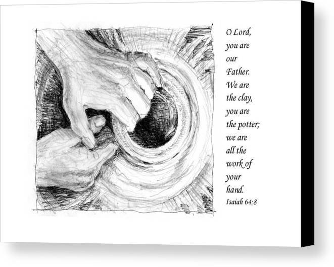 Pen And Ink Drawing Canvas Print featuring the drawing Potter And Clay by Janet King