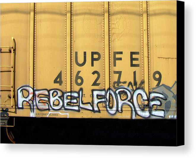 Graffiti Canvas Print featuring the photograph Rebel Force by Donna Blackhall