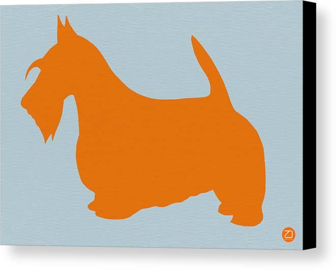 Scottish Terrier Canvas Print featuring the painting Scottish Terrier Orange by Naxart Studio