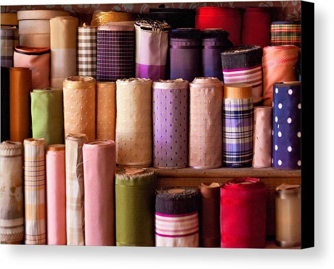 Sew Canvas Print featuring the photograph Sewing - Fabric by Mike Savad