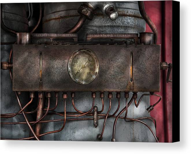 Hdr Canvas Print featuring the photograph Steampunk - Connections  by Mike Savad