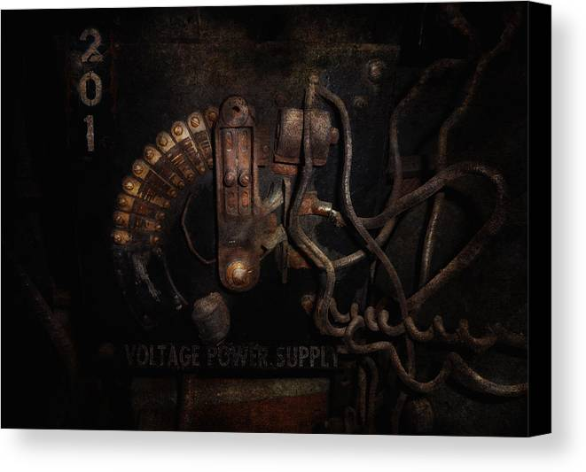 Hdr Canvas Print featuring the photograph Steampunk - Electrical - Rotary Switch by Mike Savad