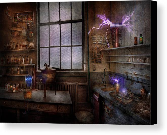 Hdr Canvas Print featuring the photograph Steampunk - The Mad Scientist by Mike Savad
