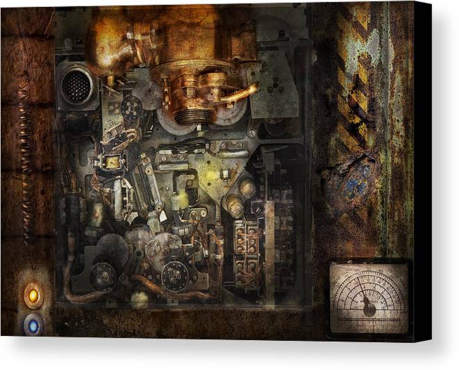 Hdr Canvas Print featuring the photograph Steampunk - The Turret Computer by Mike Savad