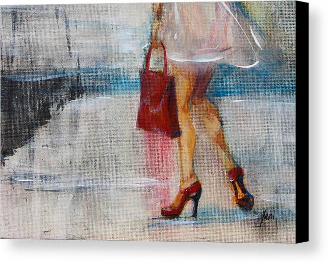 Urban Canvas Print featuring the painting Summer Rain by Jani Freimann