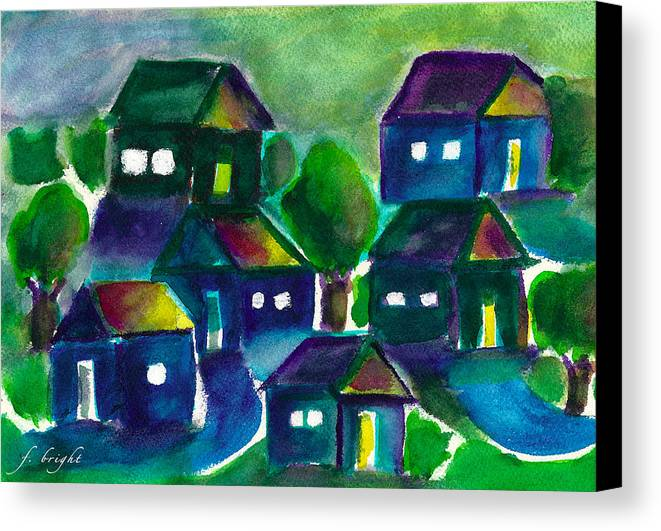 Sunset Canvas Print featuring the painting Sunset Village Watercolor by Frank Bright