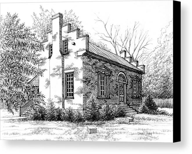 Carter House Canvas Print featuring the drawing The Carter House In Franklin Tennessee by Janet King