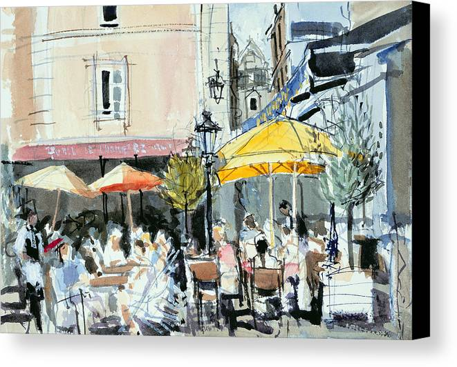 Cafe; Restaurant; French; Open Air; Dining; Eating; Al Fresco; Courtyard; Tables; Umbrellas; Brittany; Shade; Parasols; Terrace Canvas Print featuring the painting The Square At St. Malo by Felicity House