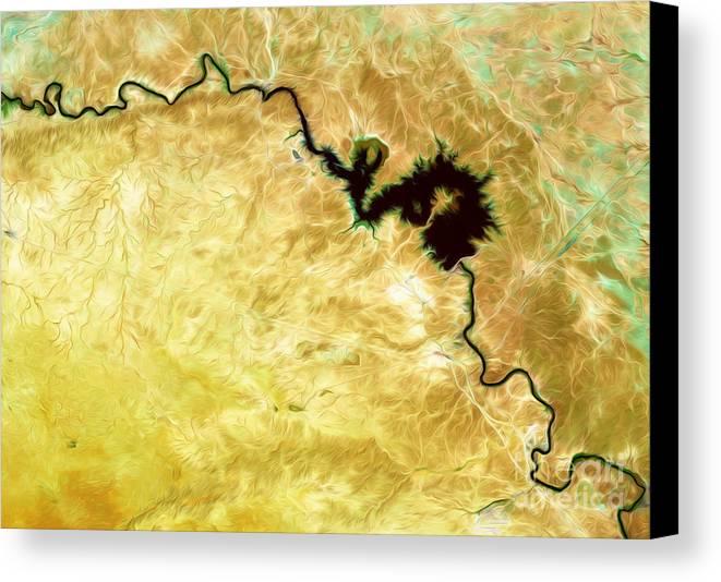 Iraq Canvas Print featuring the digital art Tigris River Iraq by Phill Petrovic