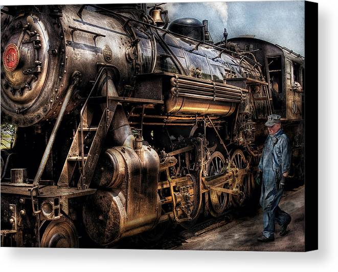 Savad Canvas Print featuring the photograph Train - Engine - Now Boarding by Mike Savad