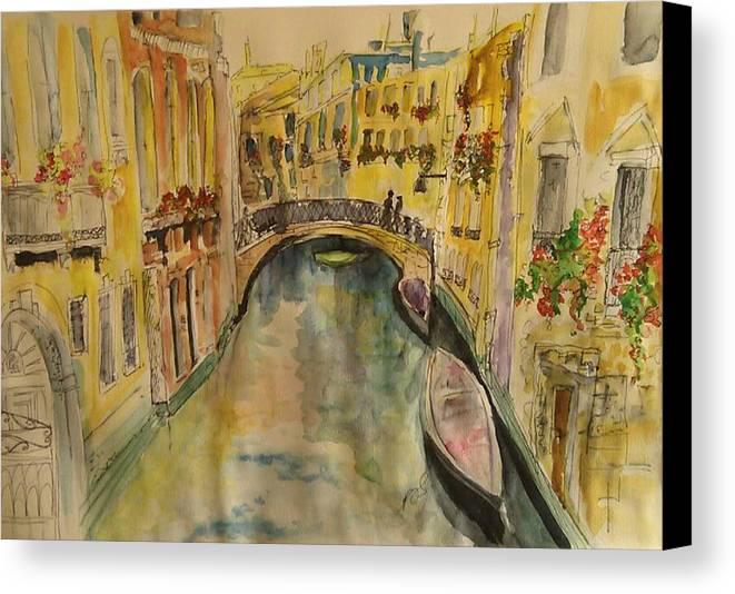 Venice Canvas Print featuring the painting Venice I. by Paula Steffensen