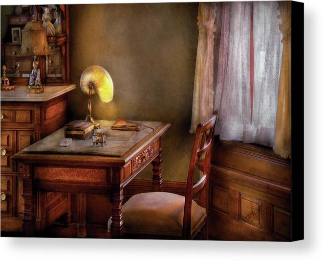 Author Canvas Print featuring the photograph Writer - Desk Of An Inventor by Mike Savad