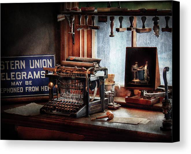 Hdr Canvas Print featuring the photograph Writer - Typewriter - The Aspiring Writer by Mike Savad