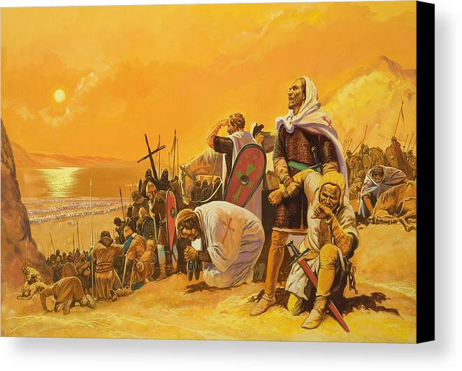 Orange; Soldier; Middle East; Heat; Sun; Cross; Christianity; Christendom; Suffering; Exhaustion; Water; Land; Desert; Shield; Armour; C11th; Croisades; Holy War; Arid; Parched; Harsh Conditions; Male; Children's Illustration Canvas Print featuring the painting The Crusades by Gerry Embleton