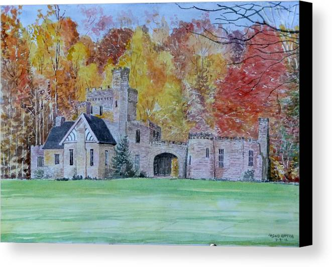 Beautiful Castle Canvas Print featuring the painting A Castle In Autumn. by Rashid Hamza