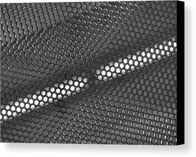 Black And White Canvas Print featuring the photograph Hexagon Lights by Anna Villarreal Garbis