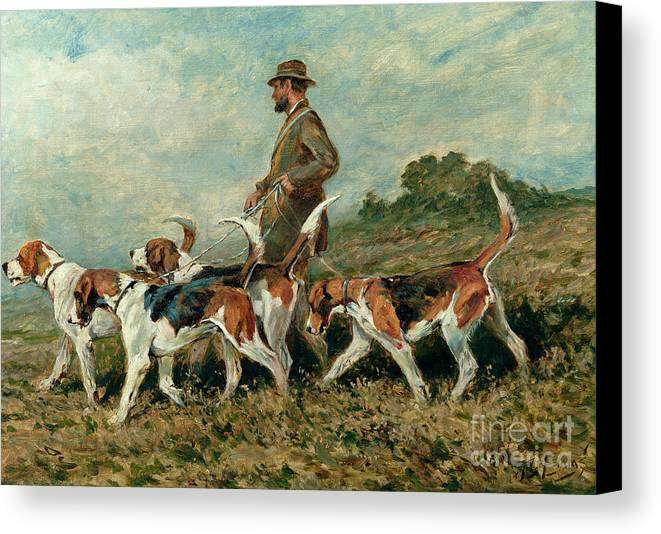 Foxhounds Canvas Print featuring the painting Hunting Exercise by John Emms