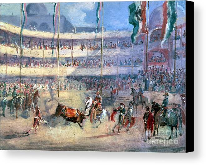 1833 Canvas Print featuring the photograph Mexico: Bullfight, 1833 by Granger