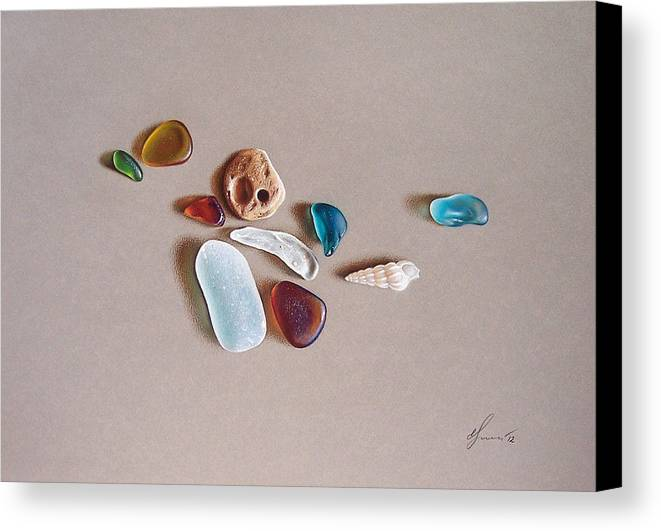 Sea Glass Canvas Print featuring the drawing Pieces From The Ocean by Elena Kolotusha