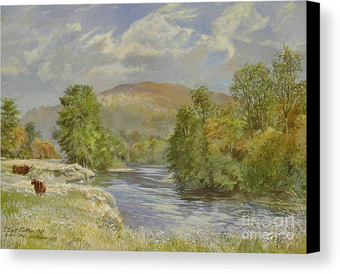 Landscape; River Scene; Highland Cattle; Meadow; Pastoral; Scottish; Hill; Hills; Tree; Trees; River Spey; Kinrara; Bull; Bulls; River; Water; Birds; Blue Sky; Sky Canvas Print featuring the painting River Spey - Kinrara by Tim Scott Bolton