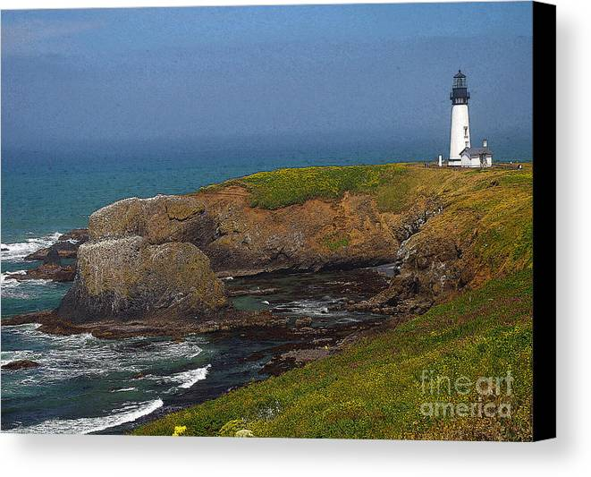 Oregon Canvas Print featuring the photograph Yaquina Head Lighthouse And Bay - Posterized by Rich Walter