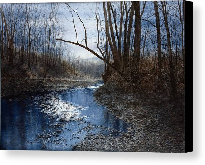 Water Canvas Print featuring the painting Skippack Blues by Steven J White PWS