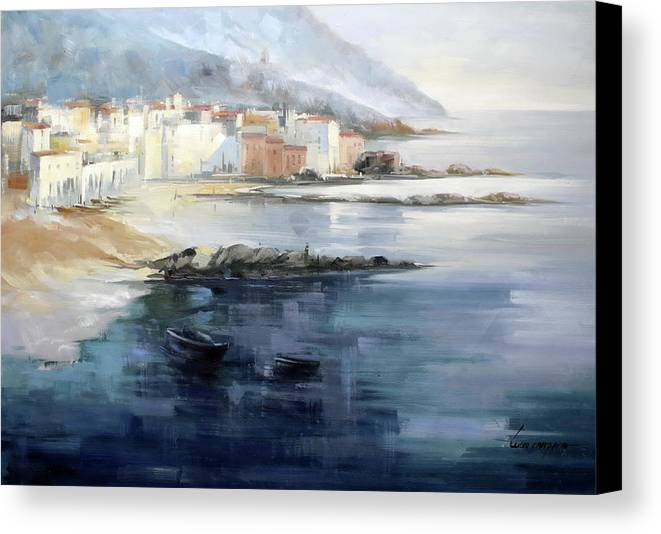 Seascape Canvas Print featuring the painting Misty Landscape by Lucio Campana