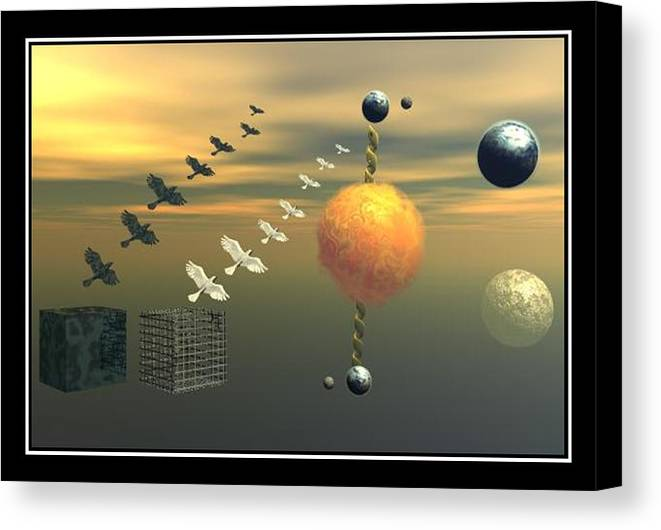 Ying And Yang Earth Planets Doves Sun Cages Metal Sky Surreal Surrealism Surrealist Art Prin Poster Painting Photo Composition Canvas Frame William Ballester Canvas Print featuring the digital art 2 Oposites by William Ballester