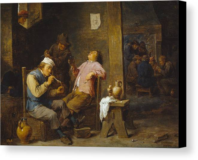 Baroque Canvas Print featuring the painting Smokers And Drinkers by David Teniers the Younger