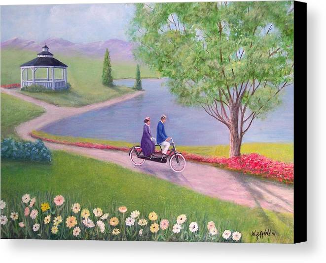 Landscape Canvas Print featuring the painting A Ride In The Park by William H RaVell III