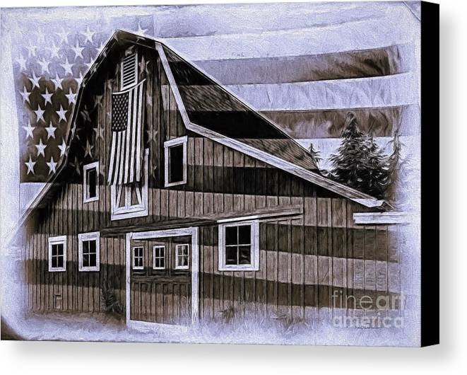 Flag Canvas Print featuring the photograph Americana Glory by Jean OKeeffe Macro Abundance Art