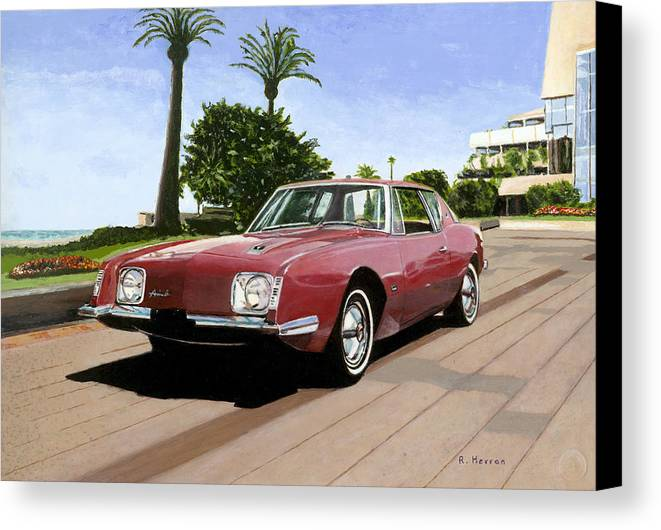 Cannes Canvas Print featuring the painting An American In Cannes by Richard Herron