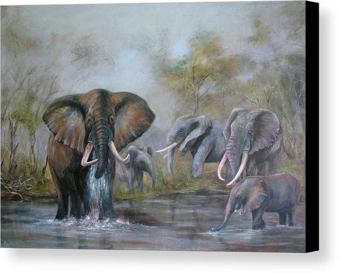 Wildlife Canvas Print featuring the painting At The Waterhole by Rita Palm