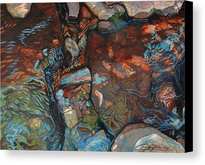 Rocks Canvas Print featuring the painting Blue Current by Craig Gallaway
